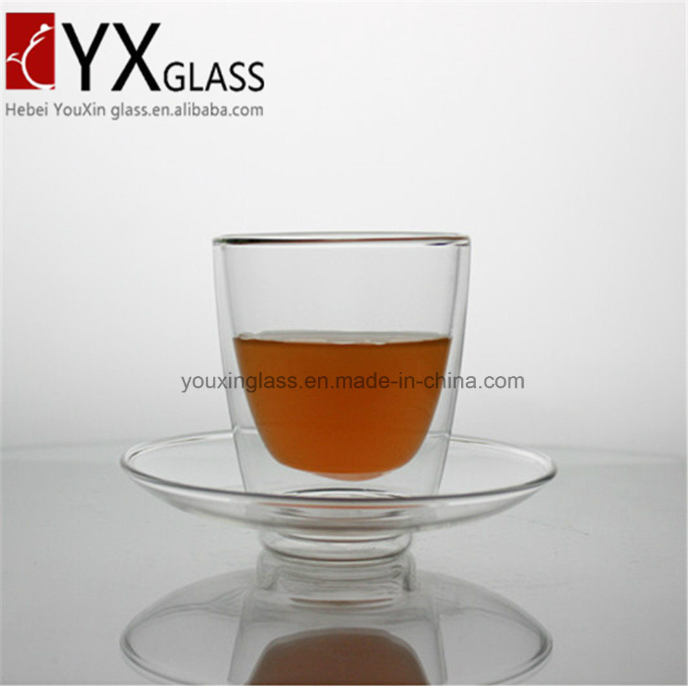 200ml Double Wall Glass Coffee Cup with Glass Saucer Glass Spoon/Double Wall Glass Coffee Mug/Double Wall Glass Coffee Cup Set