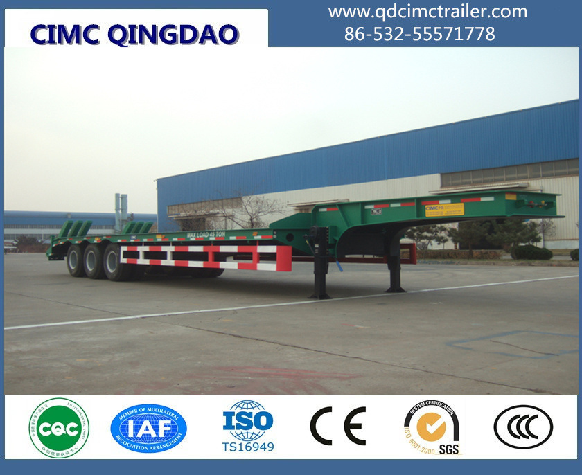 Cimc 3 Axle Low Bed Excavator Transport Trailer Truck Chassis