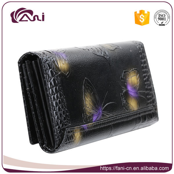 Card Wallet Leather, Real Leather Women′s Wallets with Printed Butterfly