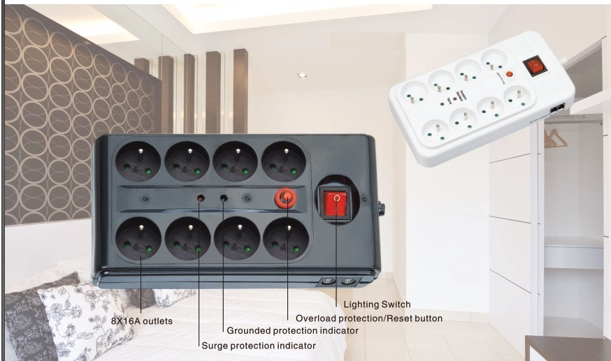 8 Outlets Power Strip, Power Socket with Light Switch, Overload Protection (GGFPBDS06)