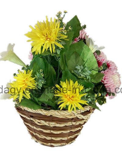 Round Straw Garden Flower Pot with Liner