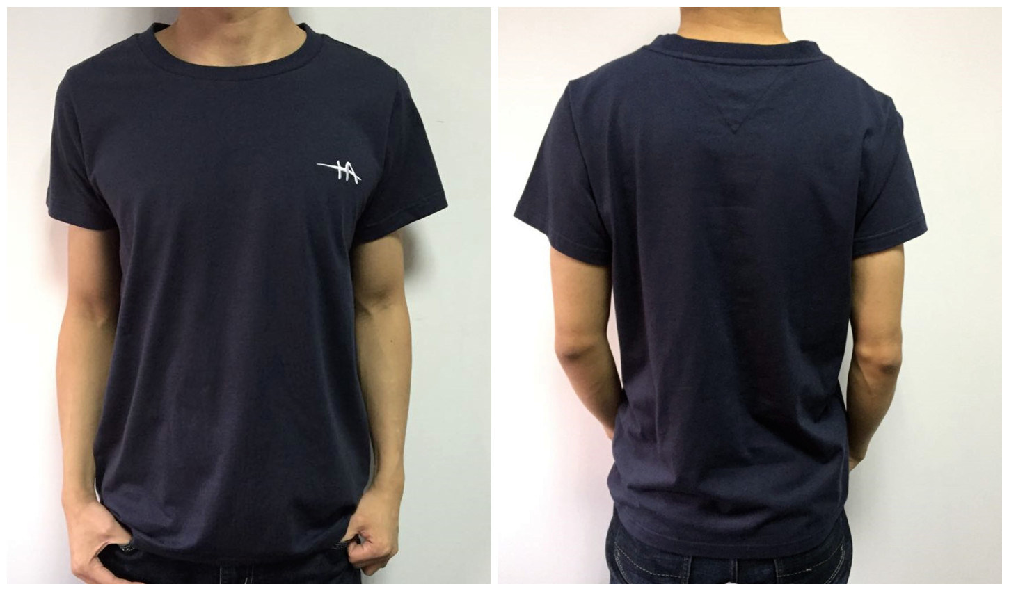 High Quality Men Garment Cotton Tshirt with Knitted Logo