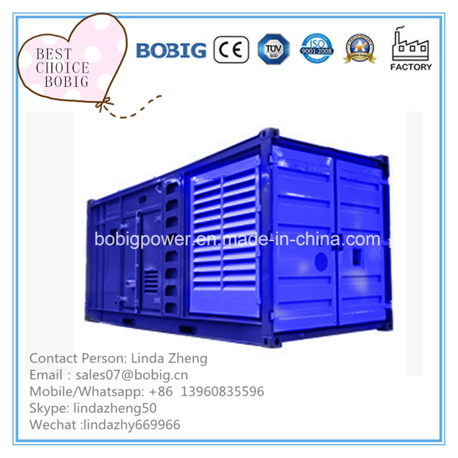 China Containerized Power Plant 500kw 625kVA Diesel Generator