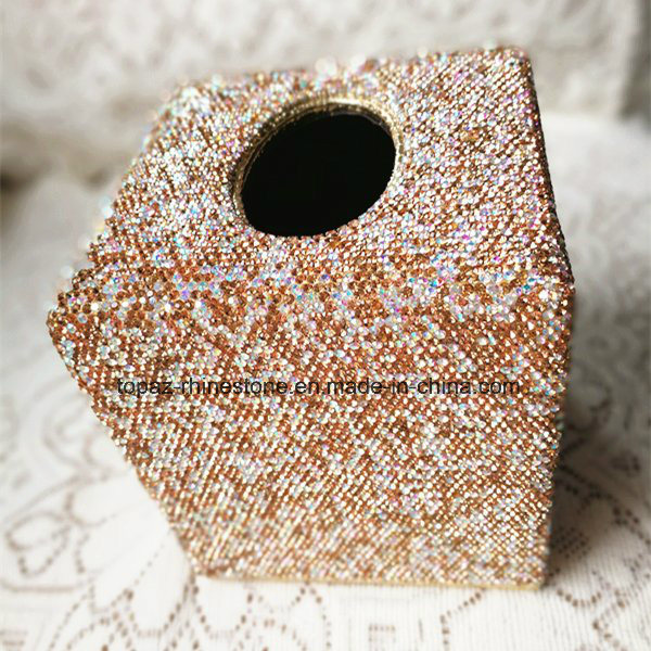 Car Home Square Crystal Diamond Tissue Box Container Towel Napkin Rhinestone Tissue Holder (TB-Square 017)
