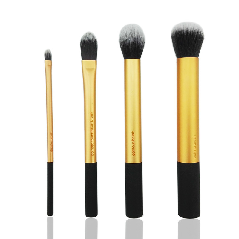 4PCS PRO Gold Cosmetic Makeup Foundation Powder Buffing Brush Sets