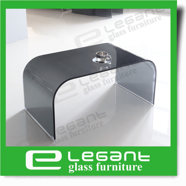 Modern Style Wavy Clear Bent Glass Magazine Table