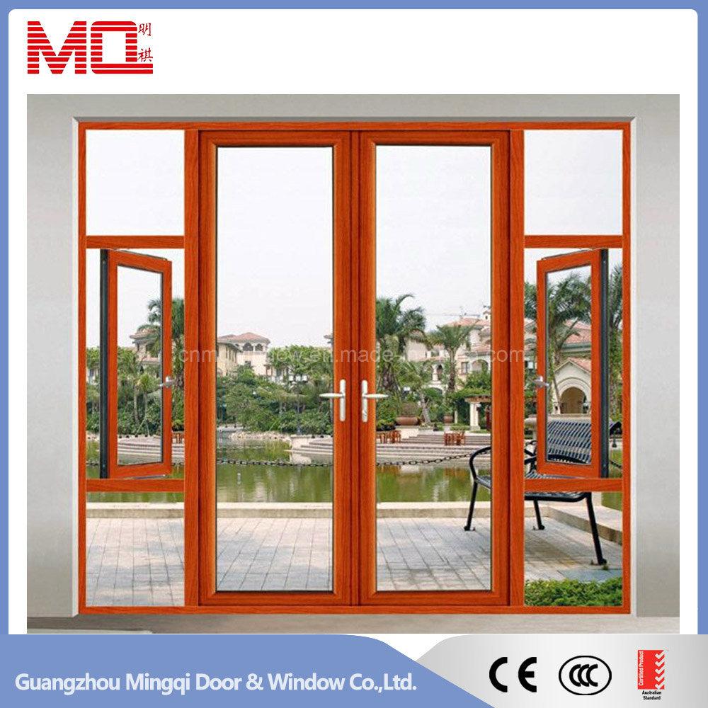 Black Color Aluminum Swing Door Unequal Double Door