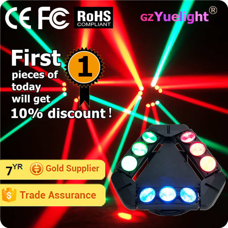 Guangzhou Baiyun District Hot Sale 9PCS 12W RGBW 4in1 CREE Infinite Rotating LED Spider Beam Moving Head with Ce RoHS