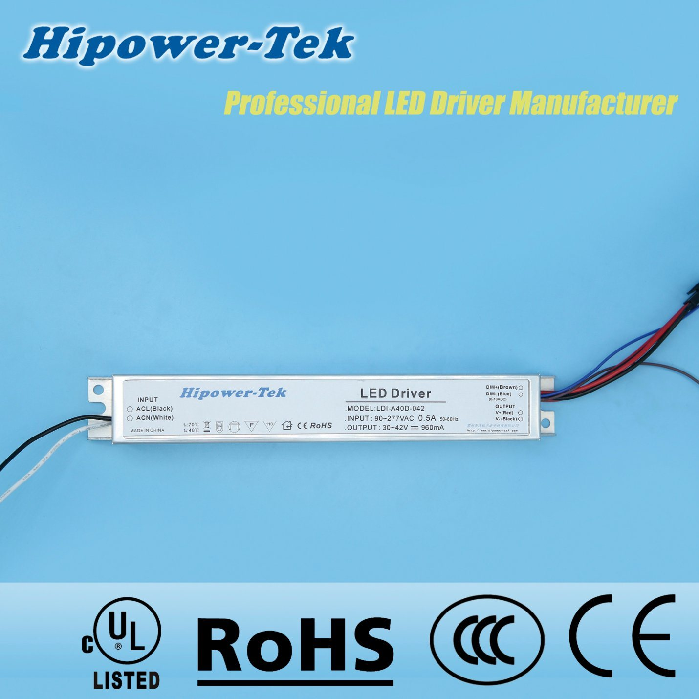 40W Constant Current Aluminum Case Dimmable Power Supply LED Driver