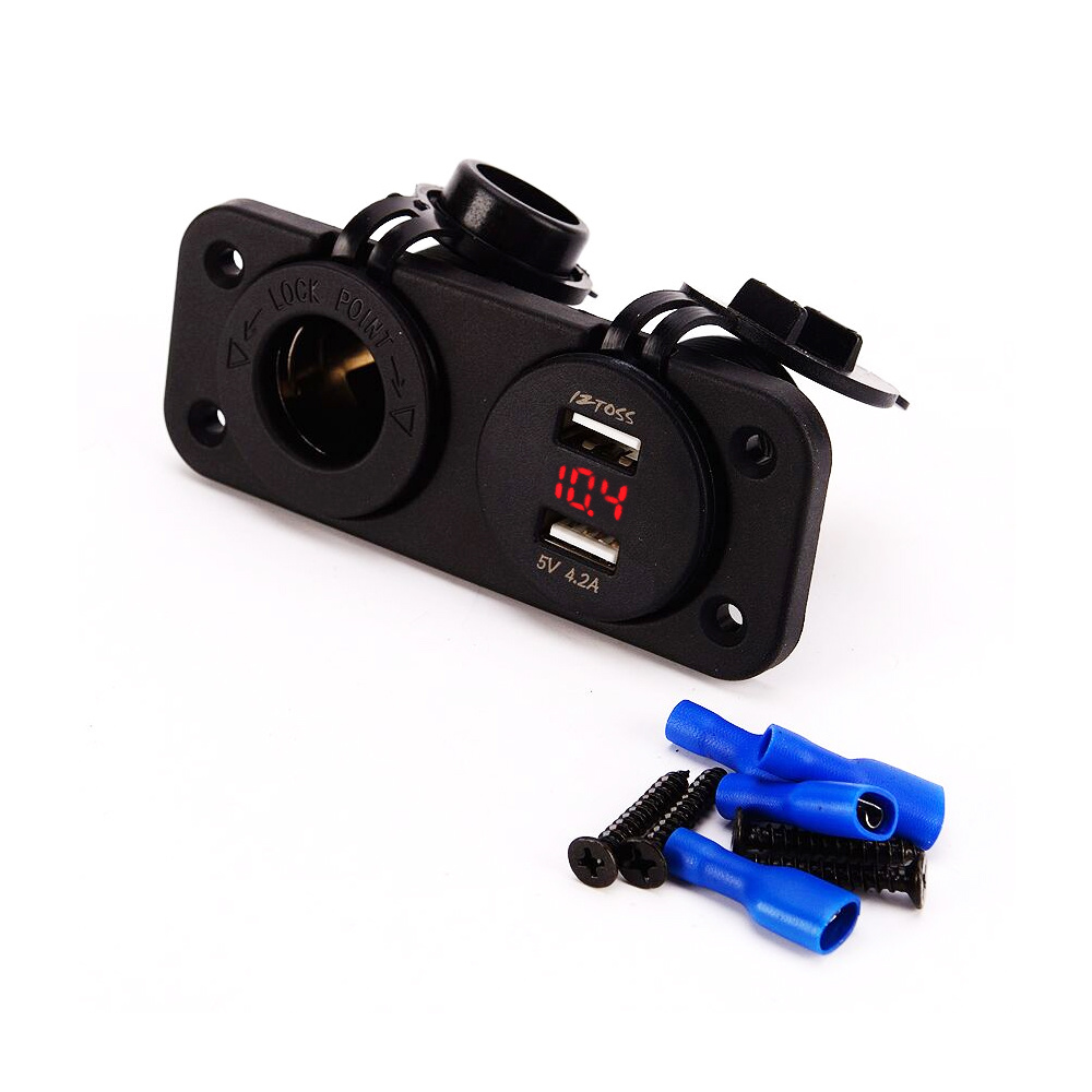 Dual USB Car Boat Charger Socket with Cigarette Lighter