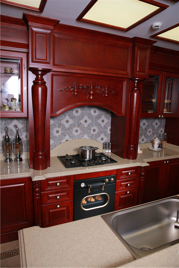 China 2015welbom luxury cherry solid wood kitchen cabinet for Cherry wood kitchen cabinets price