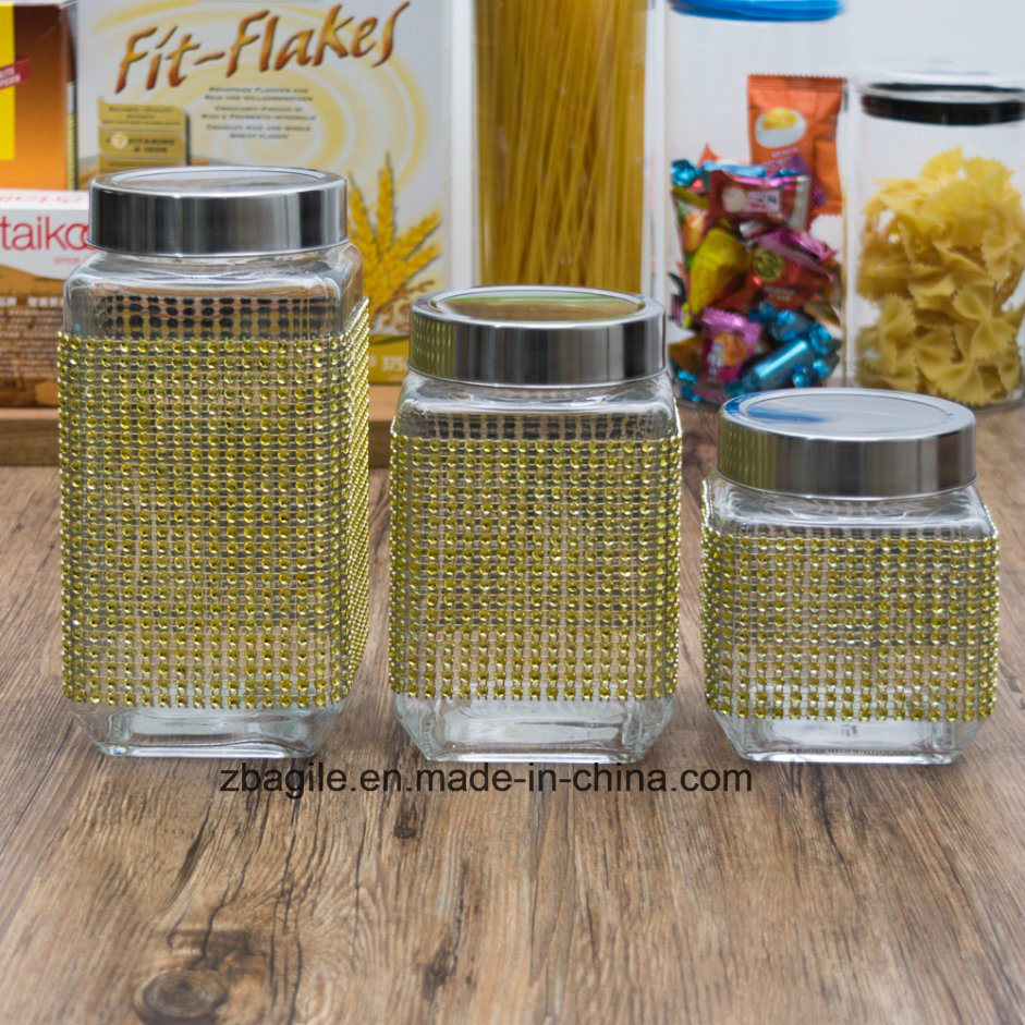 Factory Wholesale Food Square Clear Storage Glass Bottle (100097)