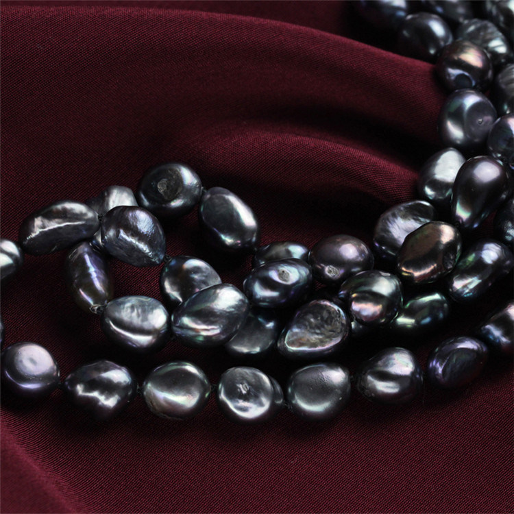 10mm Black Color Fashion Statement China Pearl Necklace