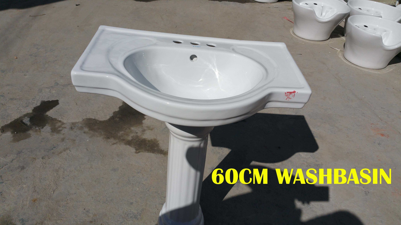Ceramic Pedestal Basin 60# with Saso/Ce