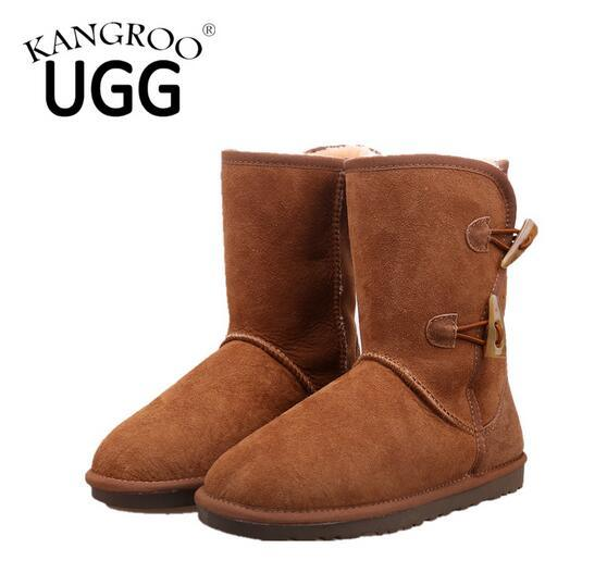 Double Face Sheepskin Winter Unisex Boots in Chestnut