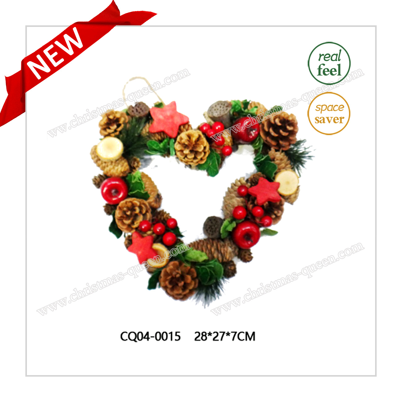 Dia. 40 Cm Dried Leaves PE Christmas Wreath for Indoor Decoration