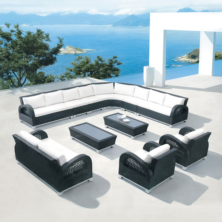 L Shape Outdoor Leisure Sofa Garden Furniture Rattan / Wicker Sofa S253