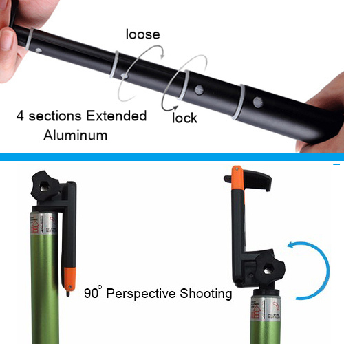 Foldable Clip Extendable Bluetooth Selfie Stick Kit for Smartphone