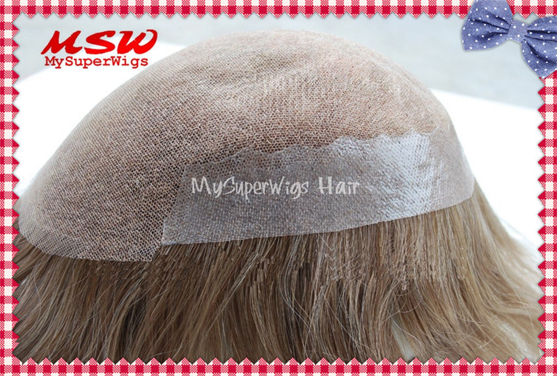 Bleached Knots Full French Lace Human Hair Toupee