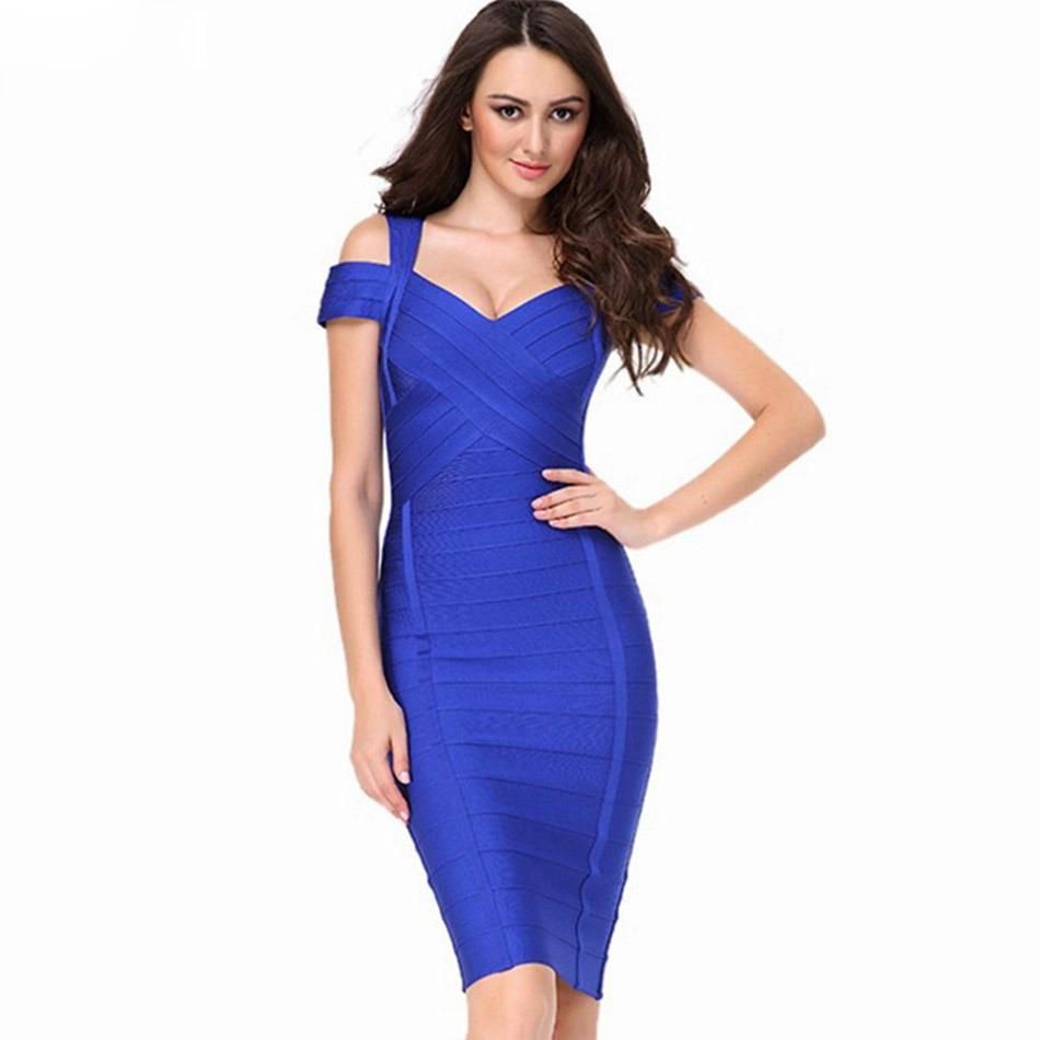 Double Shoulder Dress Blue Dress New Style Women Garment