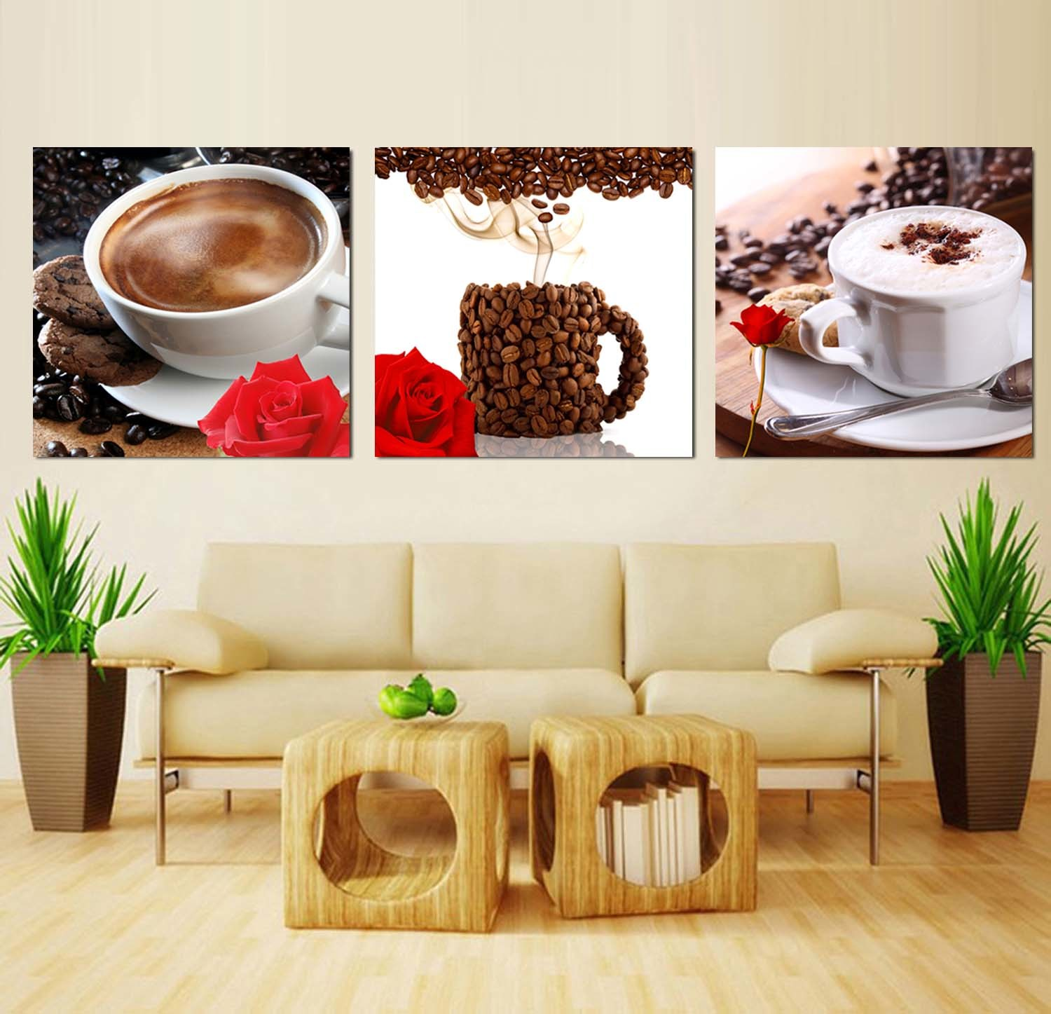 3 Piece Modern Wall Art Printed Painting Coffee Painting Room Decor Framed Art Picture Painted on Canvas Home Decoration Mc-248