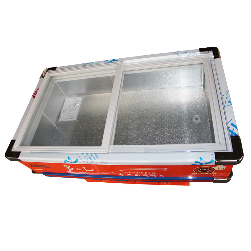 Single Temperature Sliding Glass Door Seafood Freezer with LED Light