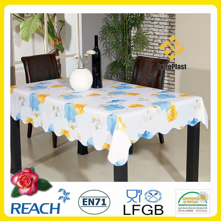 PVC /PEVA Printed Table Cloth with Nonwoven LFGB Oko-Tex 100 (TJ0425)