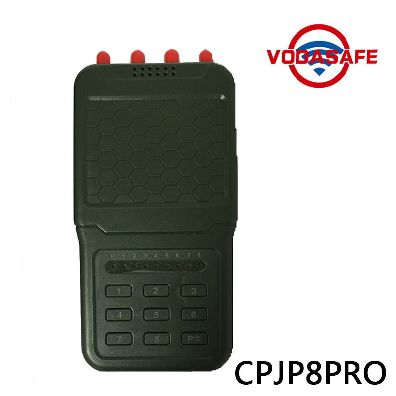 High Output Power  Handheld 8 Antennas Cell Phone Jammer, Professional High Quality Signal Jammer with Battery