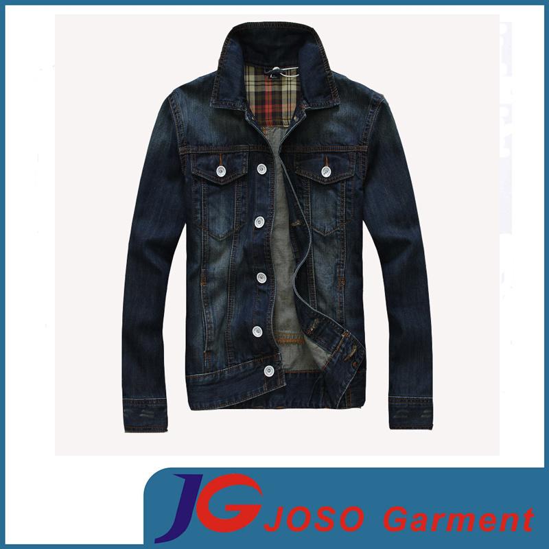 European Version of Slim Frosted Breathable Men′s Cotton Denim Jacket (JC7049)