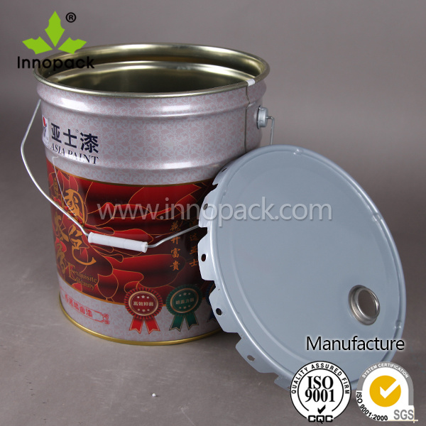 Custom Painted Metal Pail Chemical Containers 20L with Curly /Flower Edge Lid