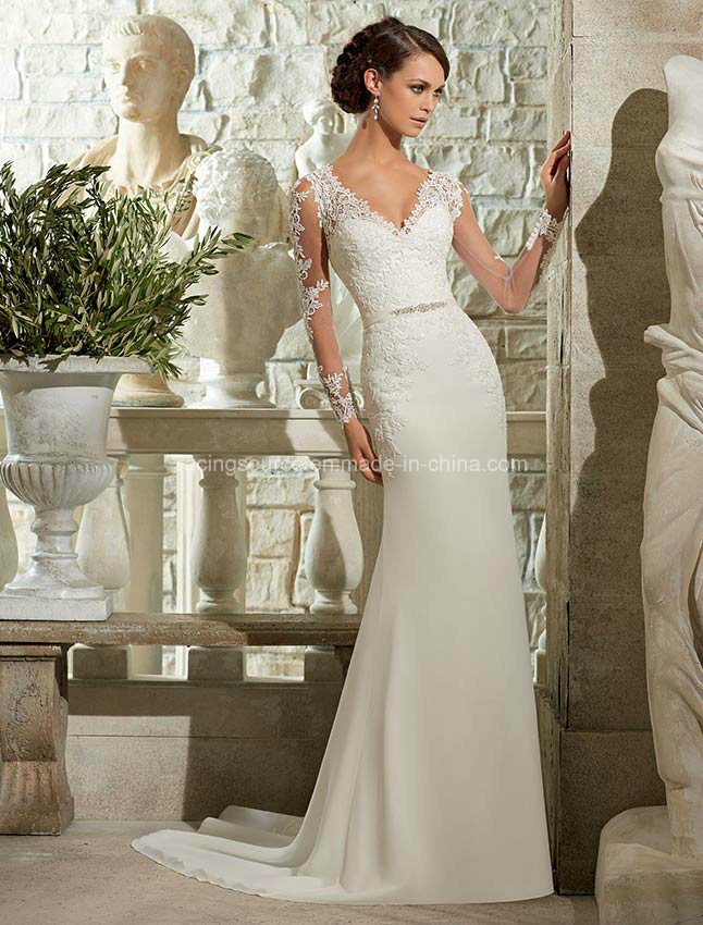 V-Line Long Sleeve Brial Gown See Through Lace Wedding Dress
