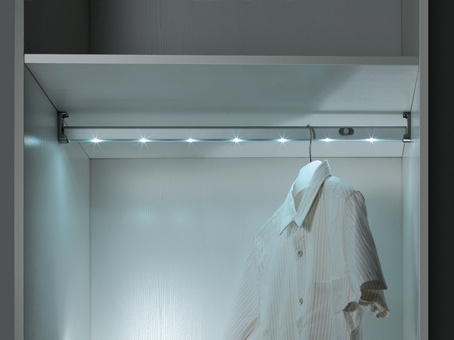 Closet Aluminum LED Clothes Hanger Rod, Rechargeable