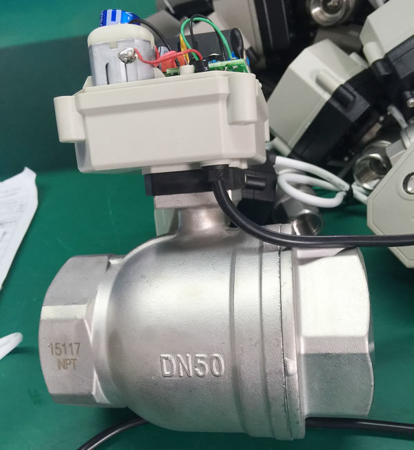 3 Way Stainless Steel304 Motorized Shut off Water Ball Valve (T25-S3-C)