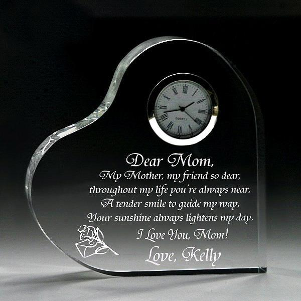 Crystal Glass Heart with Clock for Wedding Favor Gift