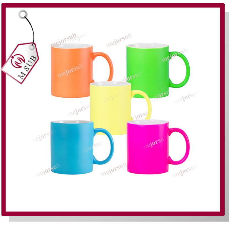 Sublimation Printed 11oz Neon Mug with Colors