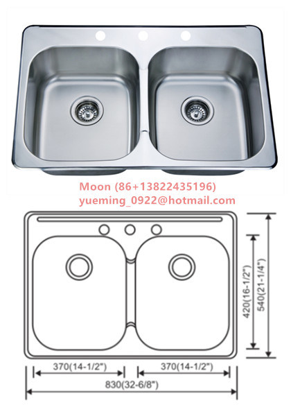 Kitchen Sink, Sink, Handmade Sink, Topmount Double Sink50/50