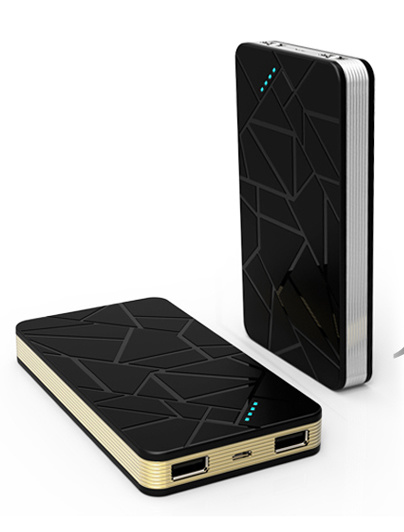 High Capacity 8000mAh Thin Power Bank with Dual Output and LED Light