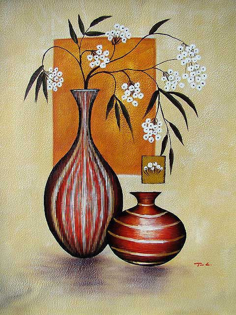 Hot Selling Home Decor Beautiful Flower Vase Colorful Flower Oil Painting (LH-383000)