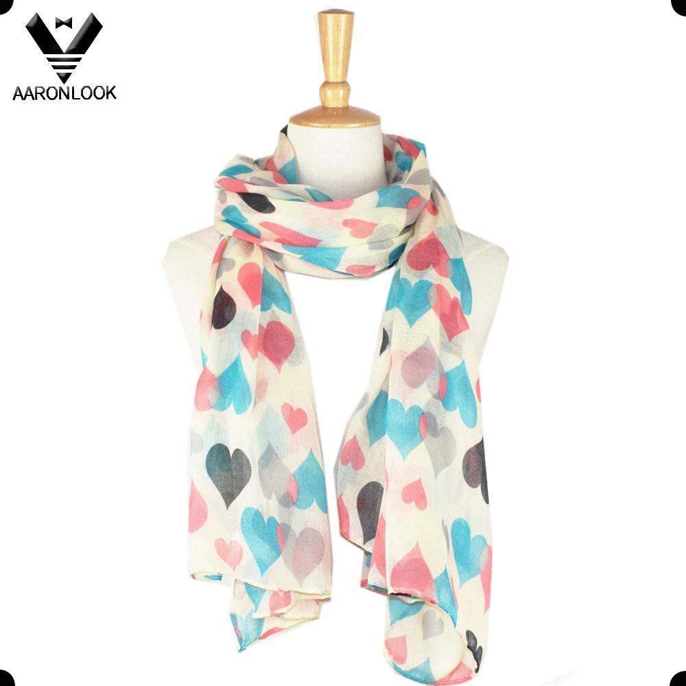 Fashion Cheap Heart Print Cute Girl Polyester Scarf