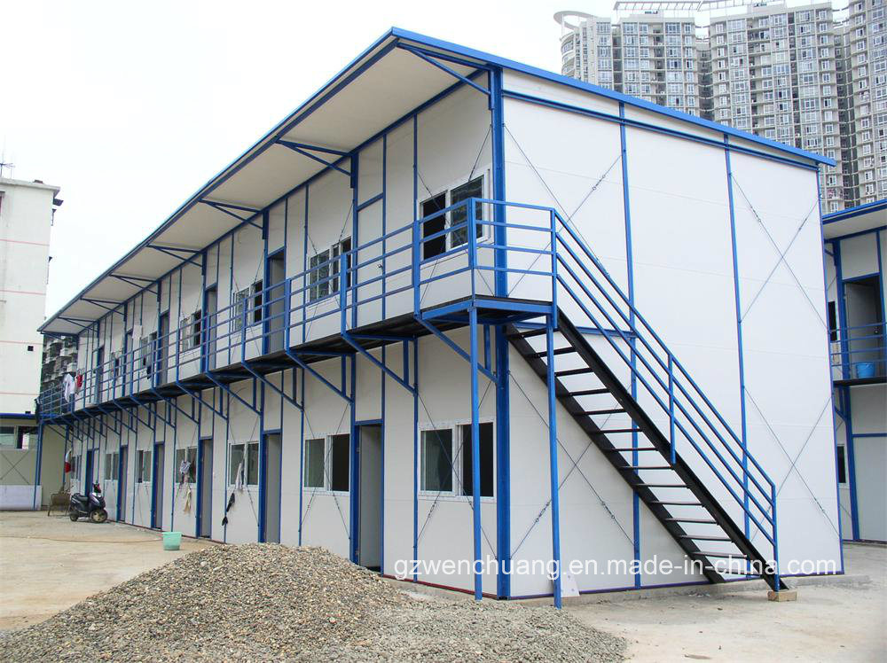 Prefab Roof Structures : China two storey flat roof structure prefab house
