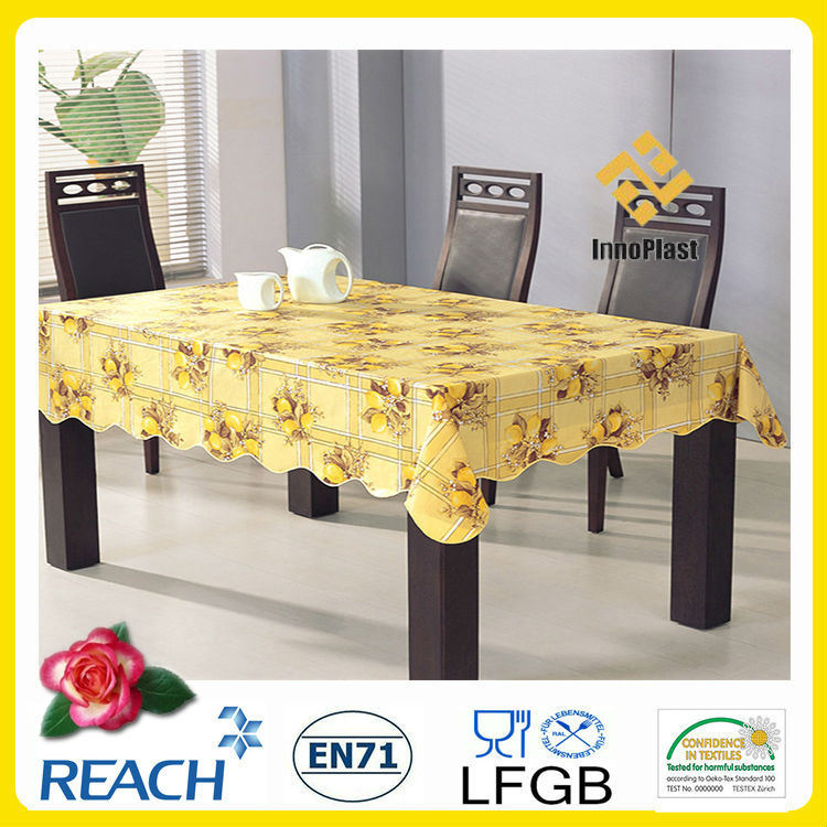 PVC /PEVA Printed Table Cloth with Nonwoven LFGB Oko-Tex 100 (TJ0425)