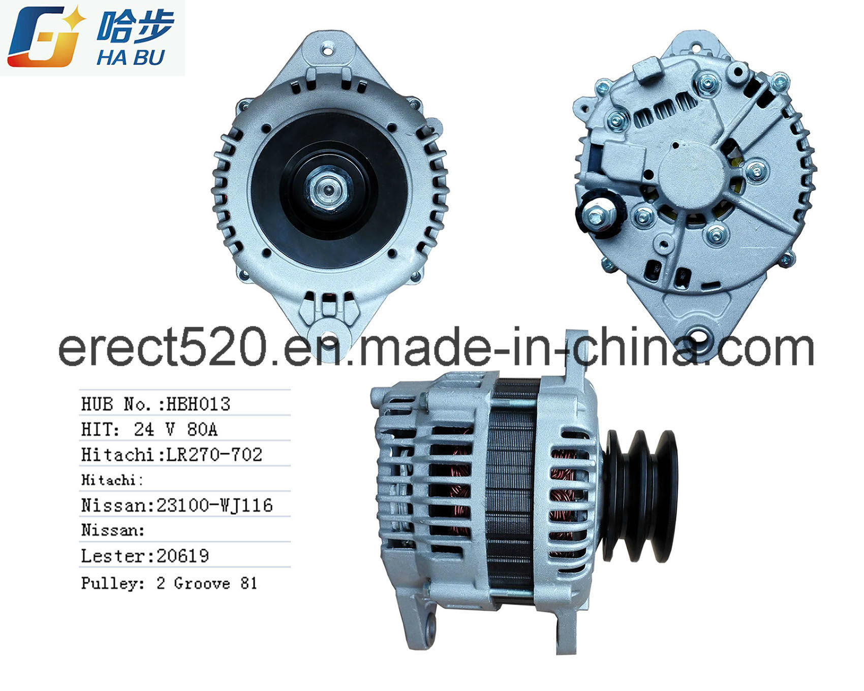 100% New Alternator Fits European for Nissan Td42 23100-Wj116 Lr270-702