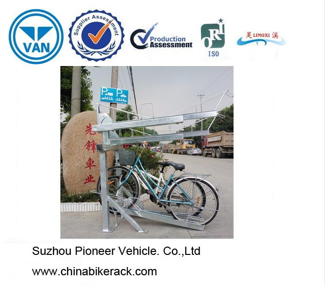 Galvanized Double Deck Parking Bike Rack