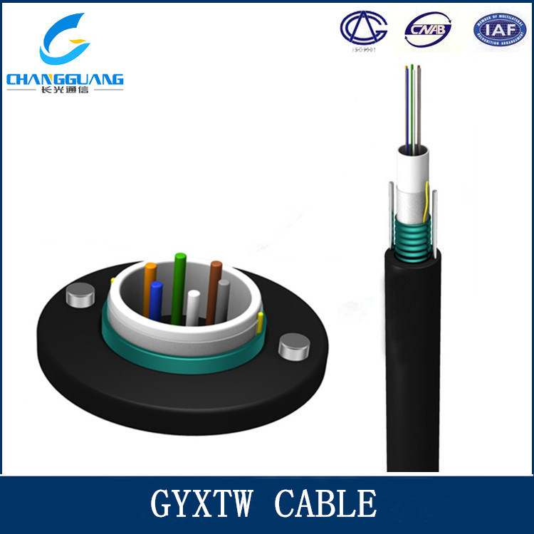 Unitube Light Armored Outdoor Optical Fiber Cable GYXTW 2-12 Core with 2 Parallel Steel Wires for Duct Aerial