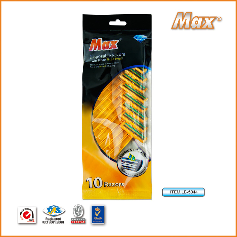 Twin Stainless Steel Blade Disposable Shaving Razor for Man (LB-5044)