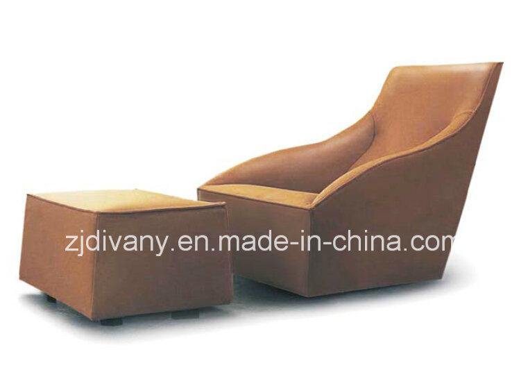 European Style Wooden Frame Leather Seat Leisure Sofa (D-54)