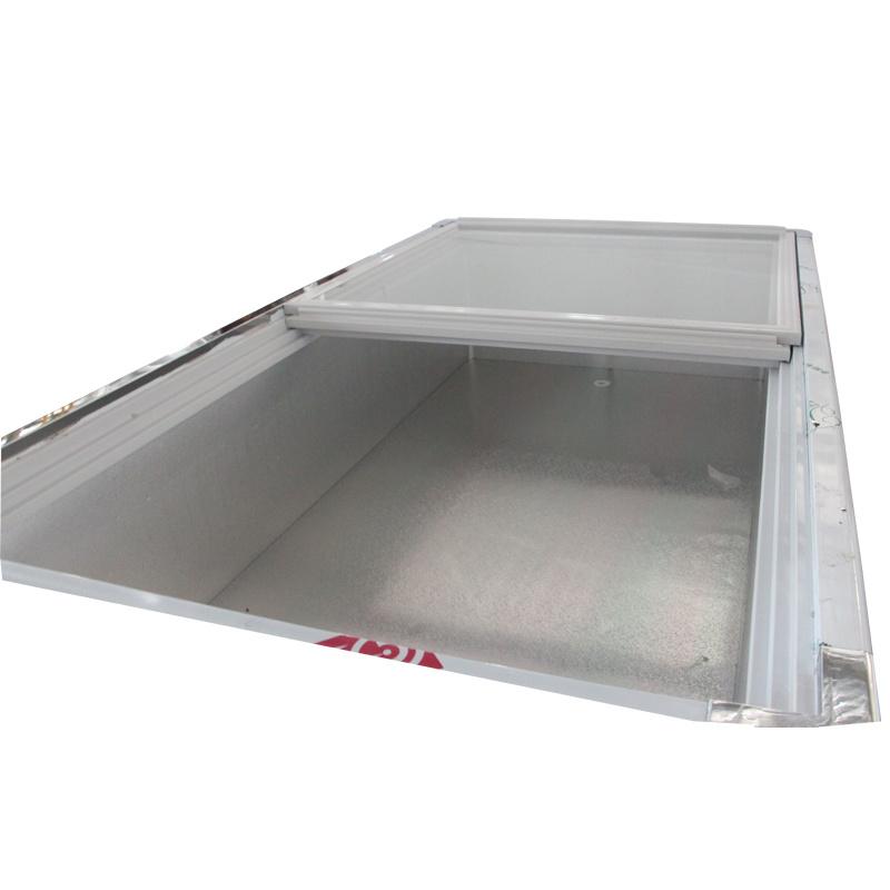 Sliding Glass Door Front Clear Seafood Freezer for Supermarket