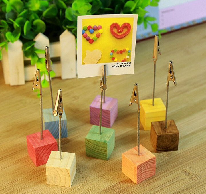 Colorful Painting Wood Name Card Case with Clips