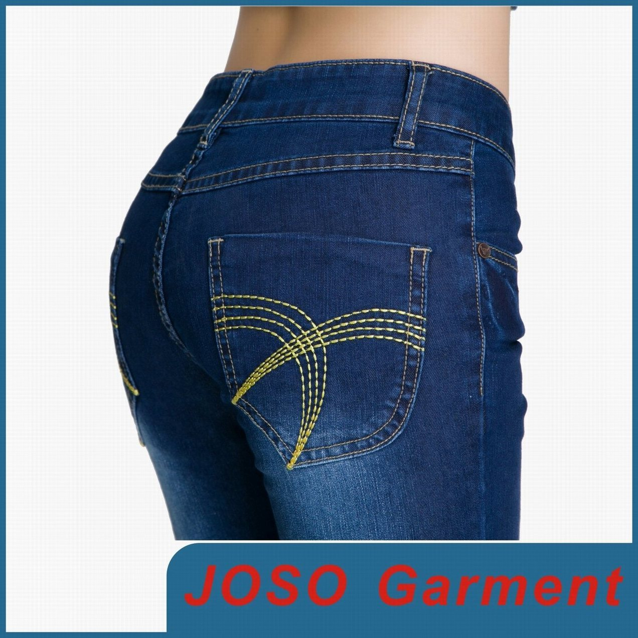 Dark Bule Cotton Spandex Skinny Women Jean (JC1050)