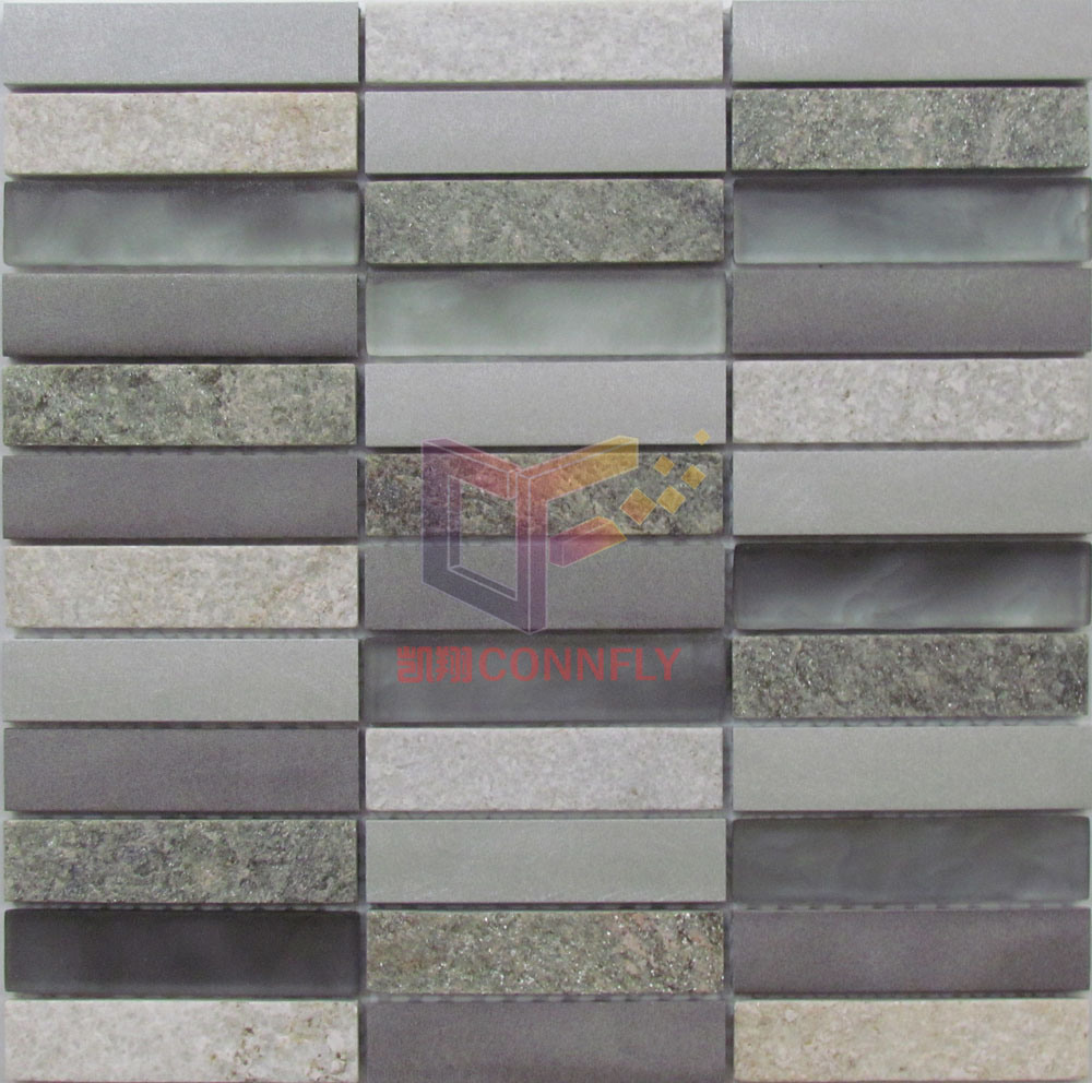 Matt Face Glass with Aluminium and Stone Mosaic (CFA104)